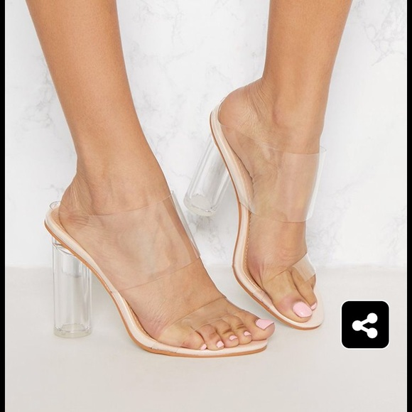 provide large selection of low price nice cheap Clear Block Heel Twin Strap Sandal